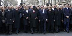 Quarante-quatre chefs d'Etat et de gouvernement ont défilé dimanche à Paris pour rendre hommage aux victimes des attentats islamistes commis dans la semaine en Ile-de-France.