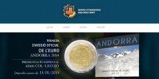 Annonce du lancement de l'euro andorrain sur la page d'accueil du site andorra-mint.com.