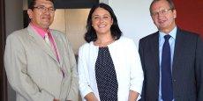 Jean-Luc Dazeas, président de la Fédération du BTP du Gers, Sylvia Pinel, ministre du Logement et Jacques Chanut, président de la FFB
