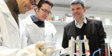 De gauche à droite, Sébastien Peltier (directeur scientifique), Florian Lejoubioux (chargé de la recherche et développement) et Philippe Charier (directeur général)