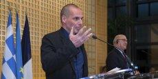 Yanis Varoufakis, ministre des Finances hellénique, lors de la conférence de presse tenue avec son homologue français, Michel Sapin, dimanche 1er février 2015, à Bercy.