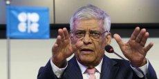 Abdullah al-Badri, secrétaire général de l'Opep, lors de la réunion du 27 novembre 2014, à Vienne. Ce jour-là, l'Opep décidait de ne pas réduire sa production et de la maintenir à 30 millions de barils par jour. Malgré la chute du prix du baril, mais afin de préserver ses parts de marché...