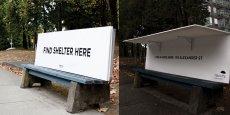 Trouvez un abri ici : il suffit de déplier le panneau pour que les sans-abris puissent protéger de la pluie et du vent.