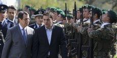 Lors de la visite lundi 2 février d'Alexis Tsipras - sa première à l'étranger -, Nikos Anastasiadis (à g.), président de Chypre, a assuré qu'il soutenait la volonté grecque d'insister sur la croissance.