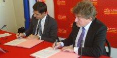 Nicolas Dufourcq (bpifrance) et Damien Alary (Conseil régionnal) ont signé, le 11 février 2015, 3 conventions visant à mieux soutenir les entreprises.
