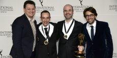 De gauche à droite : Julien Borde (France Télévisions), Jean-François Tosti (TAT productions), David alaux (TAT productions) et Philippe Soutter (PGS Entertainment)