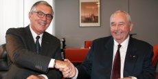Bernard Schoumacher, président de la CCI Auvergne et Jean-Paul Mauduy, président de la CCI Rhône-Alpes.