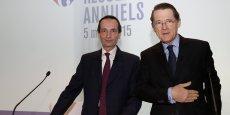 Jérôme Bédier et Pierre-Jean Sivignon, respectivement directeur général délégué et directeur exécutif financier de Carrefour ont remplacé Georges Plassat, convalescent, lors de la présentation des résultats annuels de Carrefour le 5 mars.