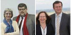 A gauche : le binome socialiste Muriel Pruvot / Philippe Bagneris. À droite, le binome Droite réunie avec Elisabeth Barral et Arnaud Lafon