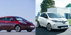 Nissan Leaf à gauche, Renault Zoé à droite. L'Alliance Renault-Nissan essuie les plâtres sur le segment de niche des voitures électriques.