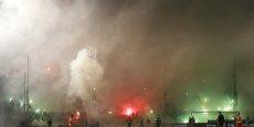 Scénes de violence lors du derby Panathinaikos-Olimpiakos du 22 février.