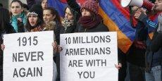 Des Arméniens manifestent près de la Cour européenne des droits de l'homme en janvier dernier.