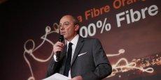 Le PDG d'Orange, Stéphane Richard, à Paris le 15 avril lors de la présentation du plan 100% Fibre.