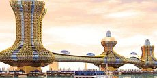 Cet ensemble architectural gigantesque se déploiera sur 110 000 m2 et ressemblera à trois lampes géantes du génie.