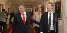 Le patron de Facebook a été chaleureusement accueilli à Bogota par le président colombien Juan Manuel Santos.