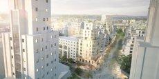 Vue d'architecte du futur quartier de Villeurbanne depuis les tours des Gratte Ciel