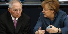 Le ministre allemand des finances, Wolfgang Schaüble, avec Angela Merkel