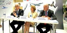 Martin Malvy, président du Conseil régional de Midi-Pyrénées, Agnès Paillard, présidente d'Aerospace Valley, et Alain Rousset, président du Conseil régional d'Aquitaine