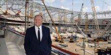 Le patron de l'OL Jean-Michel Aulas sur le chantier du Grand Stade