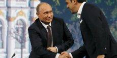 Rencontre du 19 juin 2015 entre Alexis Tsipras et Vladimir Poutine au Forum économique international de Saint-Pétersbourg. Washington, qui s'oppose à la Russie dans le cadre de la crise ukrainienne, voit d'un mauvais œil Moscou envisager de renforcer sa capacité de livraison de gaz au marché européen.