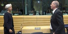 Plusieurs collègues ont exprimé leur désaccord et critiqué non seulement notre texte mais aussi le texte des institutions, a déclaré Yanis Varoufakis, le ministre grec des Finances (ici, avec la directrice du FMI Christine Lagarde, ce 25 juin 2015).