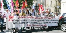 Des syndicalistes européens présents à la Bourse du travail à Bordeaux ont participé à la manifestation