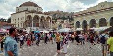 Le quartier touristique de Monastiraki, en Grèce.