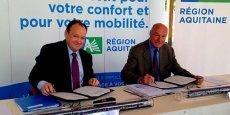Ambroise Fayolle, vice-président de la Banque européenne d'investissement, et Alain Rousset, président du Conseil régional d'Aquitaine
