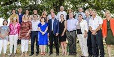 Alain Rousset entouré des têtes des listes départementales pour les Régionales 2015