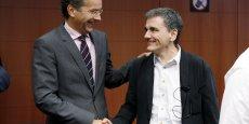 Jeroen Dijsselbloem, président de l'Eurogroupe, et le ministre grec des Finances, Euclide Tsakalotos.