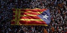 Drapeau catalan lors de la manifestation indépendantiste du 11 septembre, jour de la fête nationale catalane.