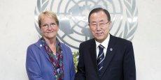 Sally Fegan-Wyles (ici avec Ban Ki-Moon) a annoncé l'organisation du Forum international à Annemasse.