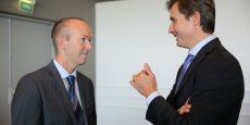 Craig Johnstone, directeur général Evotec France et Laurent Audoly, directeur recherche et développement du groupe Pierre Fabre