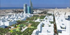 Maquette du nouveau quartier d'affaires en construction de Casa Anfa, à Casablaca (Maroc)