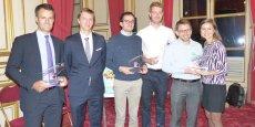 Les lauréats de l'édition 2015 : Grégoire Henry et Tristan Destremau  (Vinovae, 2e prix), Marc Joussé et Romain Lefeuvre (Wisepack, 1er prix), Antoine André et Carine Galante (Kokoji, 3e prix)