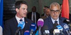 Les Premiers ministres français et marocain, Manuel Valls et Abdelilah Benkirane, lors d'une rencontre à Rabat, le 8 avril 2015