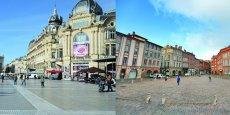 Place de la Comédie à Montpellier et place Saint-Étienne à Toulouse