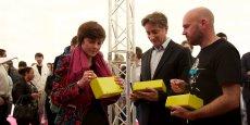 Carole Delga, Bertrand Serp et Éric Charpentier lors de la cérémonie.
