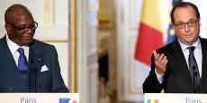 Francois Hollande et Ibrahim Boubacar Keïta, président du Mali,  lors de leur conférence de leur presse conjointe, à l'Élysée, le 21 octobre 2015.