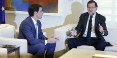 Albert Rivera, président de Ciudadanos (à gauche) et Mariano Rajoy, président du gouvernement espagnol, à droite, sont favorables à une union sacrée contre les indépendantistes catalans.