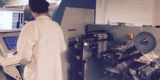L'une des machines de production de tags de la société Tageos