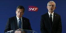 Jacques Rapoport, Pdg de SNCF Réseau (à gauche) et Guillaume Pëp (à gauche), président du directoire de SNCF et Pdg de SNCF Mobilités