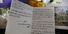 Le mémorial aux victimes des attentas à l'ambassade de France à Pékin, le 16 novembre