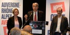 Jean-Jack Queyranne (PS) lundi soir aux côtés de Céciles Kukierman (PC) et Jean-Charles Kohlhaas (FN)
