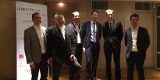 Benoit Ducrest (chef de projet Lyon Start Up), Pascal Freydier (1er prix), Laurent Constantin (parrain de cette deuxième édition), Grégoire Henry et Tristan Destremau (2ème prix) et Laurent Cifoux (3ème prix).