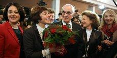 Carole Delga ce lundi 4 janvier à l'Hôtel de Région entourée de Sylvia Pinel et Martin Malvy.