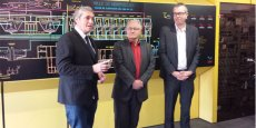 P. Saurel, président de M3M, R. Revol, vice-président de M3M, et Grégory Vallée, directeur de la nouvelle régie publique des eaux