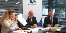 Serge Lemaître (au centre), nouveau directeur régional de Pôle Emploi Languedoc-Roussillon-Midi-Pyrénées et Christophe Carol (à droite), directeur régional adjoint.