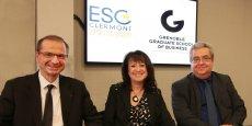 Loïck Roche (DG de GEM), Françoise Roudier (DG du Groupe ESC Clermont) et Jean-François Fiorina (DG Adjoint de GEM).
