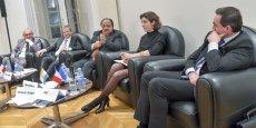 Jean-Paul Cales (président de Cap Ingelec), Marc Prikazsky (Ceva Santé animale), Rakesh K.Sharma (1er secrétaire de l'Ambassadeur d'Inde en France) et Eric Moussu(directeur commercial de DRT)